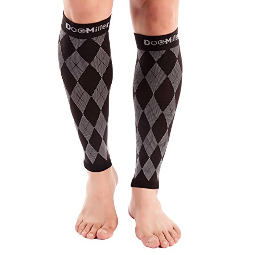 Doc Miller Premium Calf Compression Sleeve 1 Pair 20-30mmHg Strong Calf Support Graduated Pressure for Sports Running Muscle Recovery Shin Splints Varicose Veins (Black.Gray, 2-Pack, Medium)
