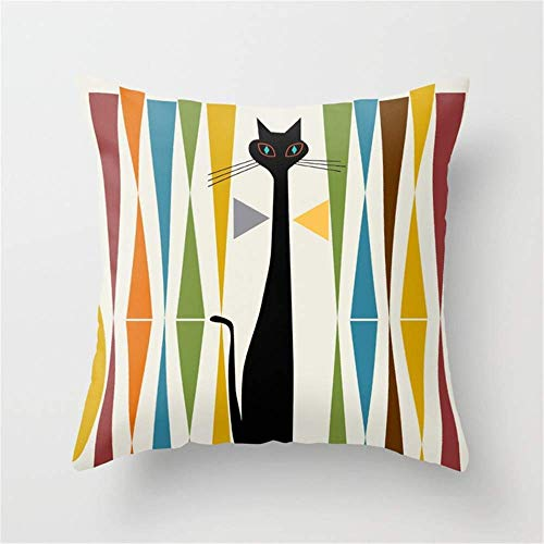 - Usvbzd Mid-Century Modern Art Cat Pillow Cushion Cover Case 18 X 18 inches
