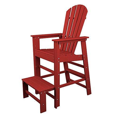POLYWOOD SBL30SR South Beach Lifeguard Chair, Sunset Red