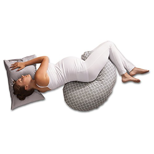 Boppy Pregnancy Support Pillow with Jersey Slipcover, Petite Trellis, Gray by Boppy (Image #3)