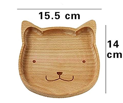 Homespun Wooden Serving Plate Cartoon Cat Face Natural Wood Divided Dishes 6.10 X 5.51 Inches For Kids Gift