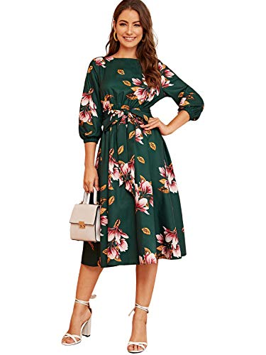 SheIn Women's Elegant Floral Puff 3/4 Sleeve Crewneck Belted A-Line Midi Dress Green Large