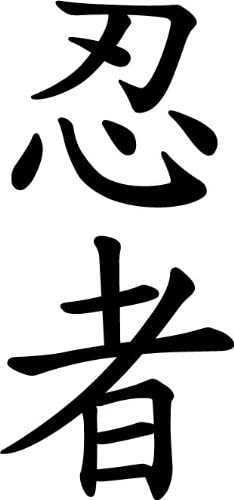 Japanese Kanji Ninja Vinyl Decal Sticker Character Black