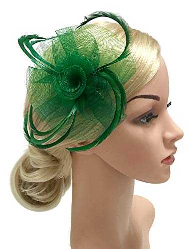 - Z&X Ladies Girls Fasciantor Hat Mesh Spiral Flower Feather Tea Party Hat Clip Brooch Green
