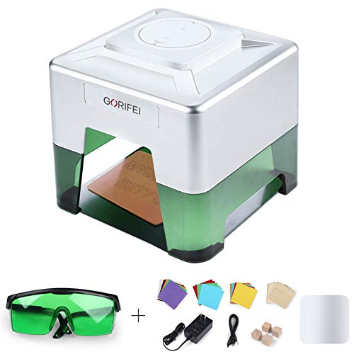 GORIFEI Laser Engraving Machine, Mini Desktop Laser Engraver Laser Cutter 3D Personalized Engraving Tool, DIY Various Materials Engraver Machine, 98 x 88mm Engraving Area