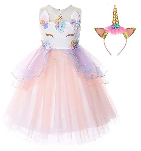 TTYAOVO Flower Girls Unicorn Costume Kids Pageant Princess Party Dress with Unicorn Headband Size 7-8 Years Pink for $<!--$23.98-->