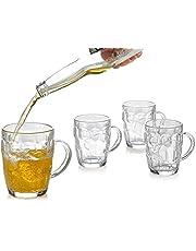 Dimple Stein Beer Mug, Glass Beer Mugs with Handles, Freezable Beer Glasses, Beer Mug Set of 4 - 18 Ounces