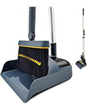 Broom and Dustpan Set Aluminum Long Handle Stand Up for Home Kitchen Office