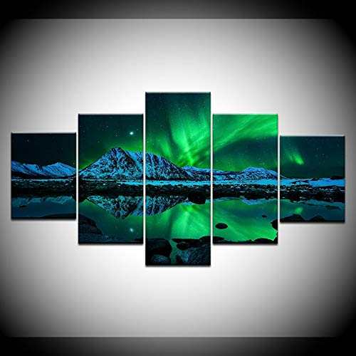 GYIHKLBS 5 Pieces Painting 5 Panel Blue Green Modern Aurora Borealis Iceland Northern Light Canvas Prints for Home Living Room decorationNo frame20x35 20x45 20x55cm