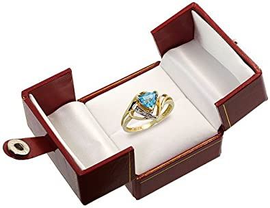 10k Gold Diamond Natural Blue Topaz Ring Trillium Cut 6mm December Birthstone 1 2 inch wide, sizes 4-9