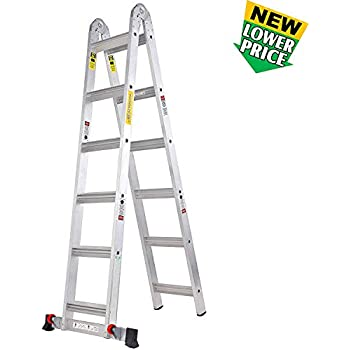 TOPRUNG 12ft. 2IN1 Aluminum Extension Ladder, Multi-Purpose Step Ladder with Bulit-in Wheels, 300lbs Duty Rating