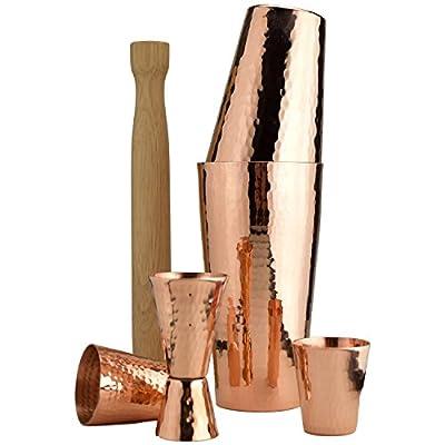 Premium Hammered Solid Copper Cocktail Shaker Set