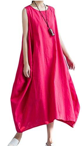 (Generic Women's Cocoon Midi Dress Bubble Hem Tunic Linen Midi Dress Red XL)