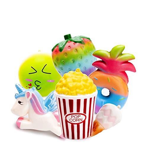 SYYISA Squishies 6 Pcs Jumbo Slow Rising Colorful Strawberry Pineapple Popcorn Unicorn Pegasus Cone Bun Ice Cream Squeeze Kawaii Squishies Scented Charms Hand Wrist Stress Relief Toys - 6 Pack