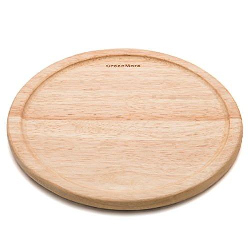 GreenMore Natural Rubber Wood Round Cutting Board with Juice Drip Groove, Best Kitchen Chopping Board for Meat, Cheese and Vegetables, Serving Tray (14 INCHES)