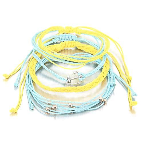 4 Pieces Anchor Navigate Bracelet Braided Rope Bracelet Waterproof String Ocean Surfer Bracelet Colorful Beaded Boho Charms for Women Girl Colorful Beaded Friendship Bracelets