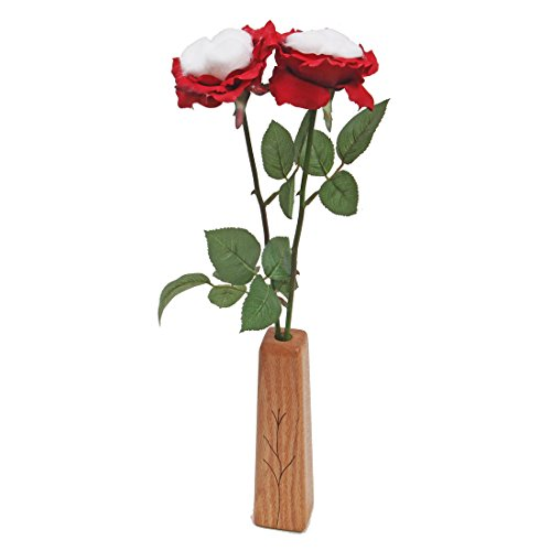 - JustPaperRoses 2nd Year Wedding, 2-Stem Cotton Roses with Vase, Perfect Present for Wife or Husband