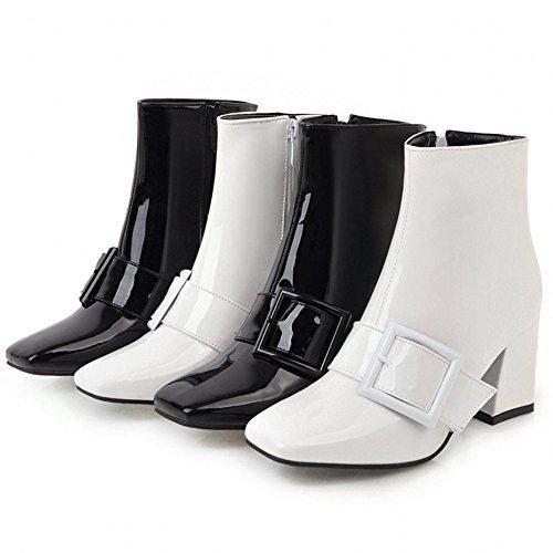 Støvler For Kvinner Hecater Ankelsokker Hæler Spenne Glidelås Tykk Blokk Hæler Firkantet Tå Støvelen Svart