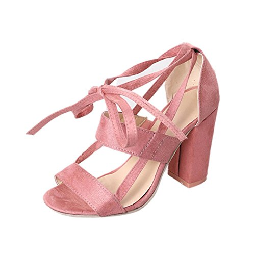 Anxinke Women Summer Lace-up Block Heels Ladies Ankle Strappy Open Toe High-heeled Sandals Pink