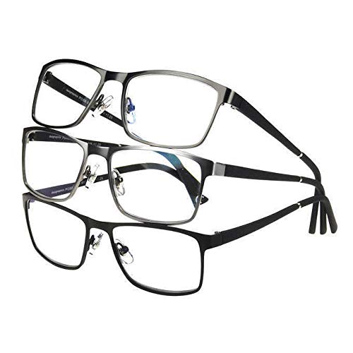 Design Optics by Foster Grant Full Frame Metal Reading Glasses (3 Count, Includes Cases) (+2.00)
