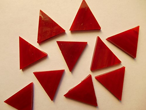 FortySevenGems 50 Pieces Dark Red Opaque Stained Glass Mosaic Triangle Tiles 1 (Pre Cut Stained Glass)