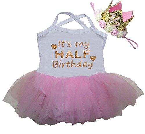 Kirei Sui Baby Tulle Tutu Bodysuit 1/2 Crown Headband M White Pink