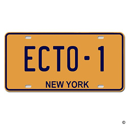 MsMr License Plate Cover New York Ecto-1 Metal License Plate Cover Decorative Car License Plate Auto Tag Sign 6x12 Inch