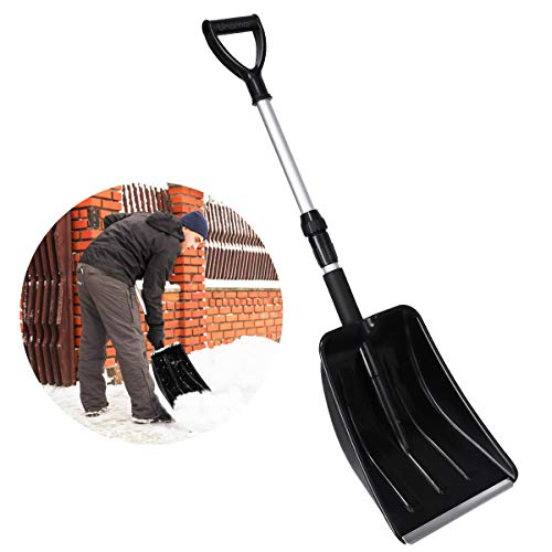 Snow Shovel with Aluminum Handle, Telescopic Plastic Snow Shovel with Portable Twist and Lock, Compact for Emergency, Car, Home (Max 36''))