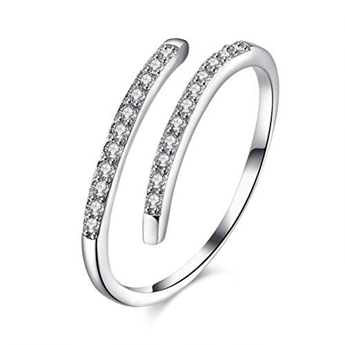 LUOEM Anillos de plata esterlina Anillo de apertura ajustable de diamante brillante