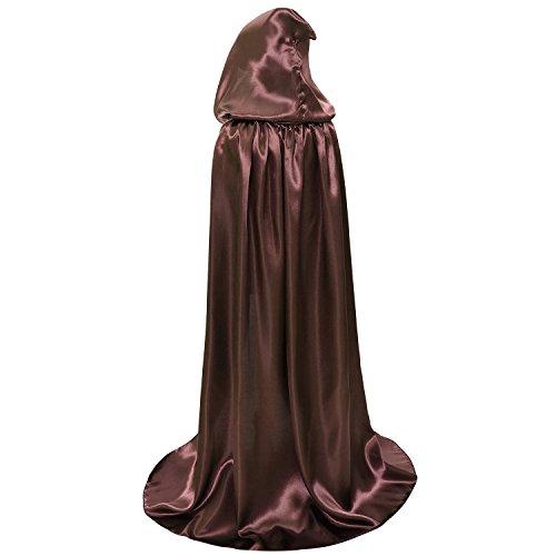 Children Kids Hood Cloak Costume Full Length Cape for Halloween Christmas Coaplay School Dress Up (100cm / 39.4inch, Brown) -