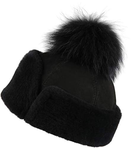 Zavelio Women's Shearling Sheepskin Snap Hat with Fox Pom Pom Medium Black Suede