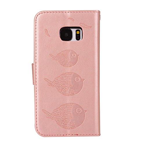 téléphone en G935F cuir de pour support PU Wallet étui avec motifs magnétique Edge Samsung cas protection avec Hozor gold S7 Flip SM fente exquis rose Galaxy de carte fermeture relief wXvWq86