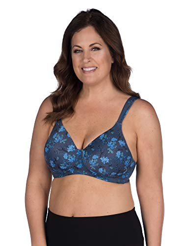 Leading Lady Women's Plus-Size Underwire Padded T-Shirt Bra, Blue Floral, 50C
