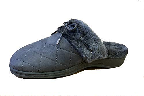 Vionic Women's Backless Indulge Pleasant Slipper - Ladies Slip-on Slippers with Concealed Orthotic Arch Support Slate Grey 8 M US