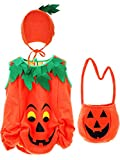 Tatuo Baby's Pumpkin Costume Pumpkin Clothes Kids Halloween Infant Costumes with Pumpkin Hat and Pumpkin Bag