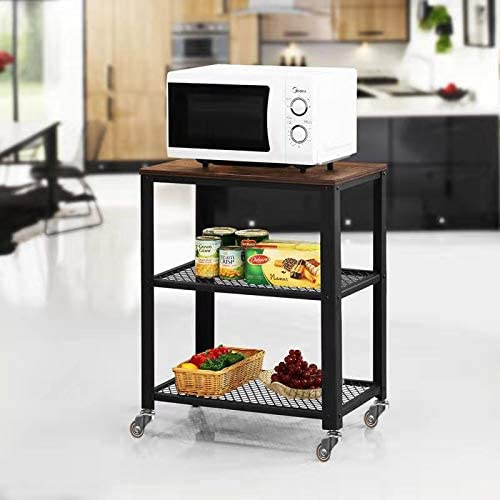 Lazyin Industrial Kitchen Cart,3-Tier Kitchen Rolling Cart on Wheels with Storage, Wood Look Accent Furniture with Metal Frame, Industrial Accent Furniture for Living Room