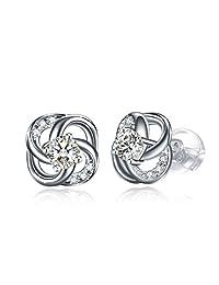 Sterling Silver Simple Necklace Women Earrings,3A Cubic Zirconia Stud Earrings Necklace Set GUNDULA Fine Jewelry