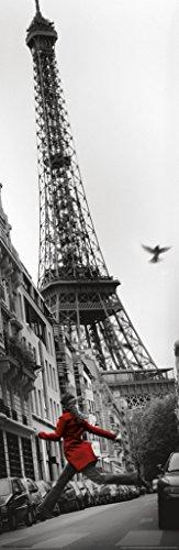 La Veste Rouge Eiffel Tower Paris France European Travel Black and White Photo Poster 12x36 inch