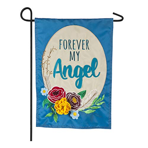 Evergreen Flag Sweet and Touching Memory Forever My Angel Applique Garden Flag with 3-D Colorful Flowers 12.5 x 18 inches.