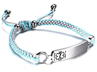 JF. Stainless Steel Medical Alert ID Bracelet for Boys Girls with Two-Tone Nylon Rope Braided Wristband