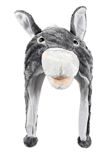 Bioterti Plush Fun Animal Hats –One Size Cap - 100% Polyester With Fleece Lining (Donkey)