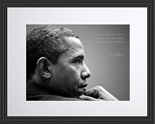 (WeSellPhotos Barack Obama Photo Picture Poster Framed Quote A Change is Brought About Because Ordinary People US President Portrait Famous Inspirational Motivational Quotes (11x14 Framed) )