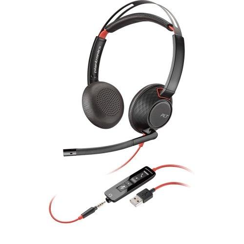 Plantronics Blackwire 5220 Binaural Diadema Negro, Rojo - Auriculares con micrófono (Centro de Llamadas/Oficina, Binaural, Diadema, Negro, Rojo, Botón, Polipiel, Metal, De plástico)