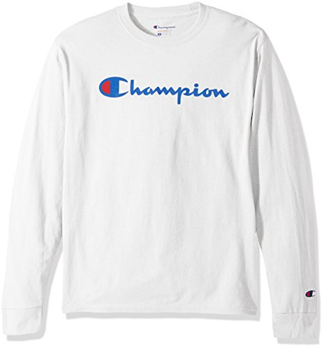 Champion LIFE Men's Cotton Long Sleeve Tee, White/Patriotic Script, X Large