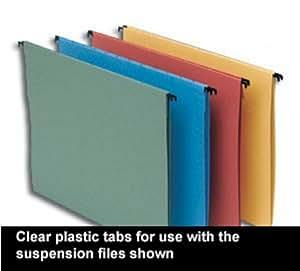 5 Star - Etiquetas para archivadores con ganchos (plástico, 50 unidades), transparente