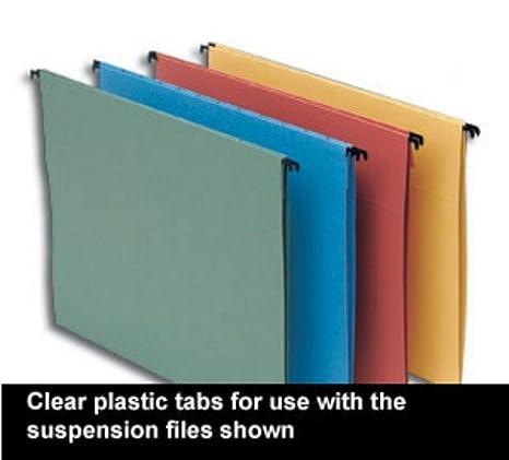 5 Star - Etiquetas para archivadores con ganchos (plástico, 50 unidades), transparente: Amazon.es: Oficina y papelería