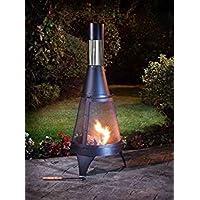 Garden Log Burner Firepit & Chimera Outdoor Heating Black 120cm