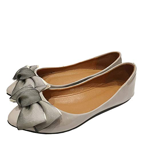 patent single shoes bow shoes shallow sweet pointed leather 41 mouth women shoes European flat EU FLYRCX ladies shoes pregnant work PnxwE4Ttvq