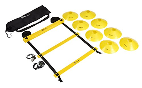 Frost Giant Fitness Agility Ladder By Tactical Endurance & Speed TrainingDrillsKit | Complete Bundle With 8 Sports Cones, Bonus Whistle & Stopwatch | Faster Footwork & Improved Movement Skills