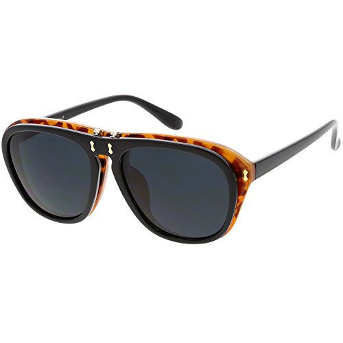 sunglassLA - Men's Two Toned Flip-Up Aviator Sunglasses Neutral Colored Lens 55mm (Black Tortoise / - Sunglasses Mcgregor